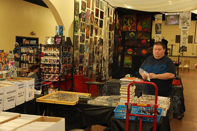 A vendor set up booth at the East Texas Rose Comic Con.