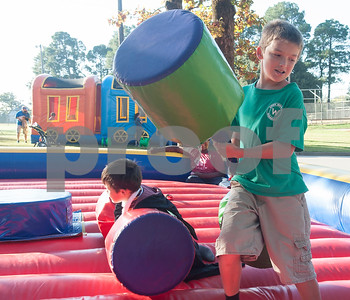 Christian Beggs, 10,  jousts during the Fit City Day in the Park event at Fun Forest Park in Tyler Saturday Oct. 29, 2016. Fit City Coalition sponsored fitness activities such as yoga and zumba classes, health screenings, a plank contest and health related vendors at the annual event.  (Sarah A. Miller/Tyler Morning Telegraph)