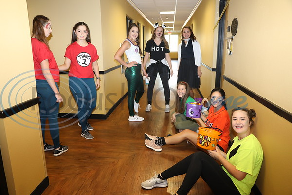 Apache Belles give Halloween treats to children at the TJC Fall Festival for Kids.