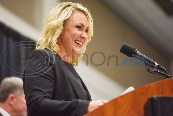 Carmen Carpenter smiles as she presents the W.C. Windsor Award during the Chamber of Commerce's annual meeting at Harvey Convention Center in Tyler, Texas, on Tuesday, Oct. 2, 2018. (Chelsea Purgahn/Tyler Morning Telegraph)