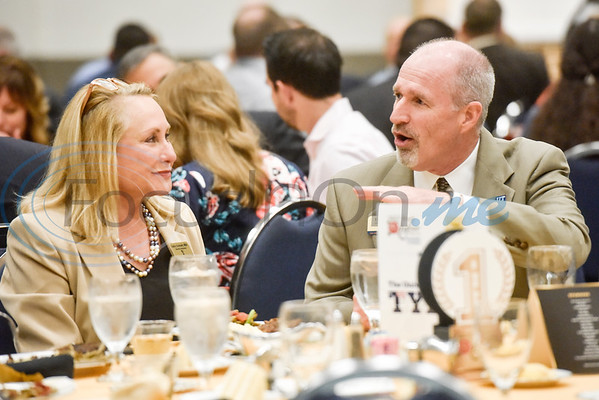 Kathy Gohmert and Daniel Carrell chat during the Chamber of Commerce's annual meeting at Harvey Convention Center in Tyler, Texas, on Tuesday, Oct. 2, 2018. (Chelsea Purgahn/Tyler Morning Telegraph)