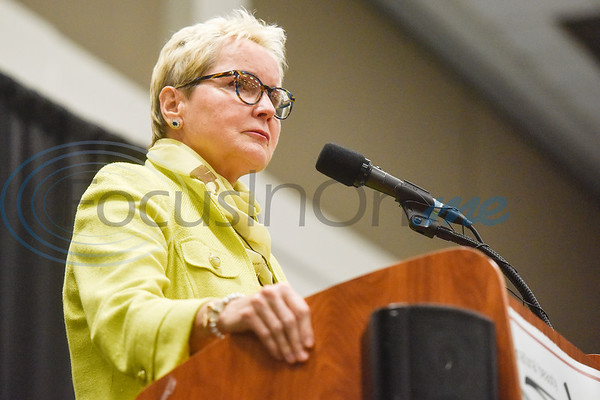 """Dr. Svetislava """"Sasha"""" Vukelja speaks after accepting the T.B. Butler Award during the Chamber of Commerce's annual meeting at Harvey Convention Center in Tyler, Texas, on Tuesday, Oct. 2, 2018. (Chelsea Purgahn/Tyler Morning Telegraph)"""