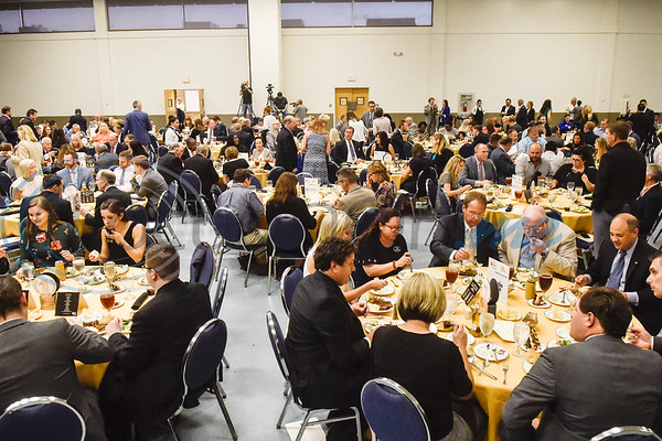 People enjoy dinner during the Chamber of Commerce's annual meeting at Harvey Convention Center in Tyler, Texas, on Tuesday, Oct. 2, 2018. (Chelsea Purgahn/Tyler Morning Telegraph)