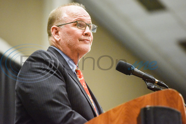 Dr. Larry Anderson speaks after receiving the T.B. Butler Award during the Chamber of Commerce's annual meeting at Harvey Convention Center in Tyler, Texas, on Tuesday, Oct. 2, 2018. (Chelsea Purgahn/Tyler Morning Telegraph)