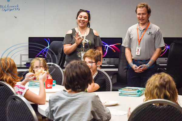 Veronica Brady and Cody Grace lead the class in discussion during the first Girls Who Code meeting at the Innovation Pipeline in Tyler, Texas, on Wednesday, Oct. 3, 2018. Girls Who Code is a nonprofit organization which aims to support and increase the number of women in computer science. (Chelsea Purgahn/Tyler Morning Telegraph)