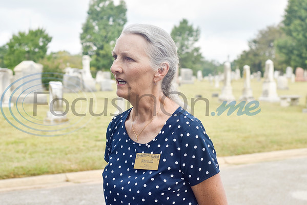 Rhonda Reagan, Oakwood Cemetery Restoration committee member, speaks during a memorial event hosted by the Charles G. Davenport chapter of the Daughters of the Republic of Texas at Oakwood Cemetery in Tyler, Texas, on Thursday, Oct. 4, 2018.The event honored real daughters, daughters of Texas pioneer families living in Texas during the Republic of Texas era, and members unveiled plaques at the real daughters' grave sites. (Chelsea Purgahn/Tyler Morning Telegraph)
