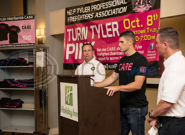 The Tyler Professional Firefighters Association, in partnership with the City of Tyler Fire Department held a Kickoff Event at the Holiday Inn South Broadway to announce the 11th annual Turn Tyler Pink event. The Turn Tyler Pink event, in which the firefighters sell t-shirts and educate the public during the month of October, will take place on the following Tuesday, October 8, 2019, from 5:00 – 7:00 p.m. on the square in downtown Tyler.  (Sarah A. Miller/Tyler Morning Telegraph)