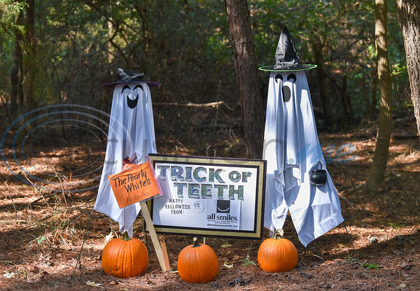A scarecrow, decorated by local dentist office All Smiles, stands on display at the annual Scarecrow Trail at Ruth Bowling Nichols Arboretum. The event entry fee is $1 or a canned good which goes to help the H.O.P.E. Center in Jacksonville. (Jessica T. Payne/Tyler Morning Telegraph)