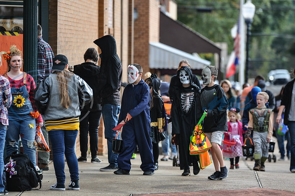 Rusk children fill the streets of downtown for the annual Scare on the Square held on Thursday, November 1. Local businesses participate in the event hosted by the Rusk Chamber of Commerce. (Jessica T. Payne/Tyler Morning Telegraph)