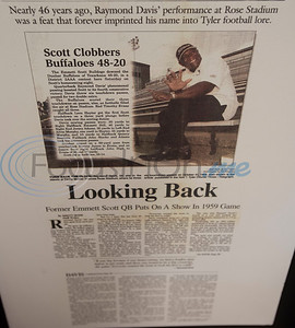 A Tyler Morning Telegraph story about former Emmett Scott High School quarterback Raymond Davis is included in the collection at the Texas African American Museum, 3000 North Border Ave. in Tyler. The museum is a branch of the Empowerment Community Development Corporation.   (Sarah A. Miller/Tyler Morning Telegraph)