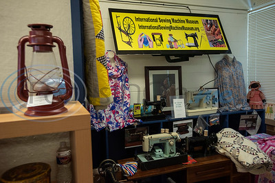 Vintage sewing machines are part of the collection at the Texas African American Museum, 3000 North Border Ave. in Tyler. The museum is a branch of the Empowerment Community Development Corporation.   (Sarah A. Miller/Tyler Morning Telegraph)