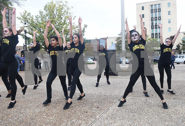 The Cumberland Academy dance team performs during the Dia de los Muertos celebration in downtown Tyler Saturday Nov. 5, 2016.   (Sarah A. Miller/Tyler Morning Telegraph)