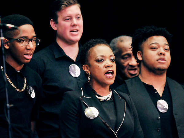 John P. Cleary | The Herald Bulletin<br /> Members of the Anderson Community Choir sing during the 38th annual Anderson city-wide Dr. Martin Luther King, Jr. celebration Monday.