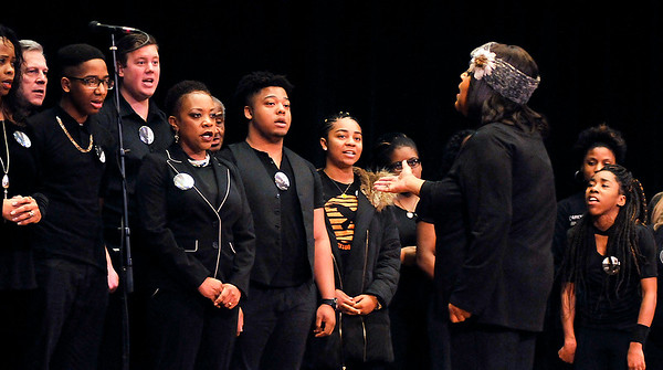 John P. Cleary | The Herald Bulletin<br /> The Anderson Community Choir sings one of their selections during the 38th annual Anderson city-wide Dr. Martin Luther King, Jr. celebration Monday.