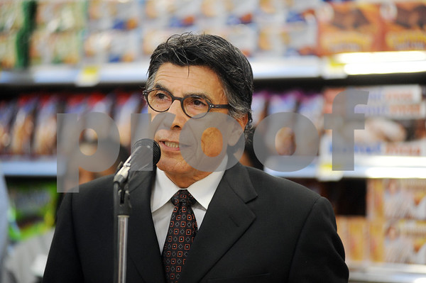 photo by Sarah A. Miller/Tyler Morning Telegraph  Price Arrendondo, director of the Hispanic Business Alliance speaks at the the grand opening celebration of the new and expanded Super 1 Foods Wednesday morning at 105 E. Gentry Parkway in Tyler.