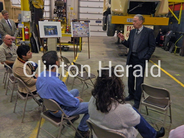 U.S. Senator Charles Grassley, R-Iowa, speaks to Wendling Quarries employees on Thursday at their DeWitt office as part of his 99 counties tour. • KATIE DAHLSTROM/CLINTON HERALD