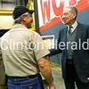 U.S. Senator Charles Grassley, R-Iowa, talks to Wendling Quarries employee Neil Shaull on Thursday following a question and answer session at the DeWitt office. • KATIE DAHLSTROM/CLINTON HERALD