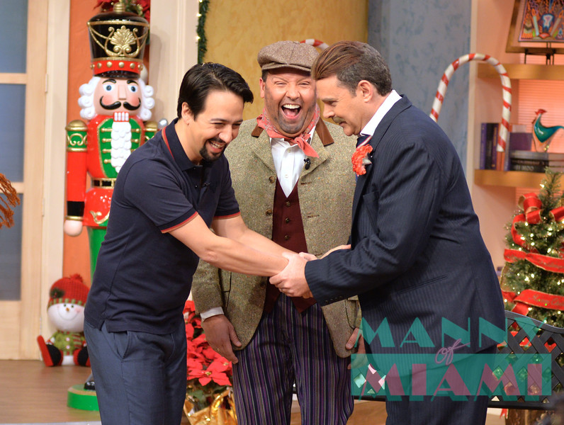 MIAMI, FL - DECEMBER 19:  Lin-Manuel Miranda, Raul Gonzalez and Alan Tacher visits morning show Despierta America at Univision Studios December 19, 2018 in Miami, FL. (Photo by Manny Hernandez/Getty Images)