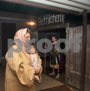 DeeAnn McCan gives a tour of Bethlehem at West Lake Baptist Church in Chandler Wednesday Dec. 9, 2015 during rehearsal for Night in Bethlehem. Night in Bethlehem is a live reenactment depicting the city of Bethlehem the night of our Jesus' birth.   (Sarah A. Miller/Tyler Morning Telegraph)