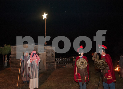 Shepherds and Roman soldiers stand in the streets of the town of Bethlehem at West Lake Baptist Church in Chandler Wednesday Dec.9, 2015 during rehearsal for Night in Bethlehem. Night in Bethlehem is a live reenactment depicting the city of Bethlehem the night of our Jesus' birth.   (Sarah A. Miller/Tyler Morning Telegraph)