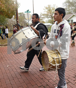 Drummers perform during a procession in Tyler held by St. Peter Claver Catholic Church in Tyler Sunday Dec. 11, 2016 to celebrate the feast day for Our Lady of Guadalupe. Our Lady of Guadalupe celebrates the image of the Virgin Mary that appeared on a piece of cloth work by an Aztec Indian named Juan Diego on December 9, 1531, in Mexico.  (Sarah A. Miller/Tyler Morning Telegraph)