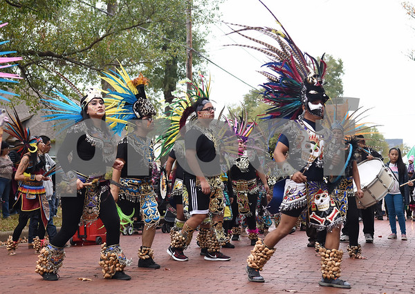 Danza Azteca performs during a procession in Tyler held by St. Peter Claver Catholic Church in Tyler Sunday Dec. 11, 2016 to celebrate the feast day for Our Lady of Guadalupe. Our Lady of Guadalupe celebrates the image of the Virgin Mary that appeared on a piece of cloth work by an Aztec Indian named Juan Diego on December 9, 1531, in Mexico.  (Sarah A. Miller/Tyler Morning Telegraph)