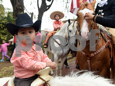 Yadier Ruiz, 1, rides a pony during a procession in Tyler held by St. Peter Claver Catholic Church in Tyler Sunday Dec. 11, 2016 to celebrate the feast day for Our Lady of Guadalupe. Our Lady of Guadalupe celebrates the image of the Virgin Mary that appeared on a piece of cloth work by an Aztec Indian named Juan Diego on December 9, 1531, in Mexico.  (Sarah A. Miller/Tyler Morning Telegraph)