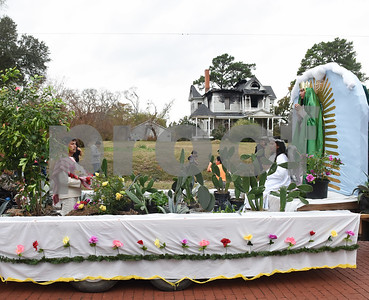 A float depicts Juan Diego, an angel and a vision of Guadalupe during a procession in Tyler held by St. Peter Claver Catholic Church in Tyler Sunday Dec. 11, 2016 to celebrate the feast day for Our Lady of Guadalupe. Our Lady of Guadalupe celebrates the image of the Virgin Mary that appeared on a piece of cloth work by an Aztec Indian named Juan Diego on December 9, 1531, in Mexico.  (Sarah A. Miller/Tyler Morning Telegraph)