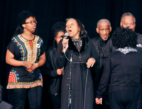 John P. Cleary | The Herald Bulletin<br /> The Dr. MLK Community Choir performs several musical selections for city-wide celebration of Dr. Martin Luther King Jr.