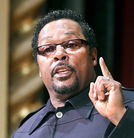 John P. Cleary | The Herald Bulletin<br /> Pastor Ken Johnson, chaplain for the Indianapolis Colts, gives the keynote address at the 39th annual Anderson city-wide celebration of Dr. Martin Luther King Jr.