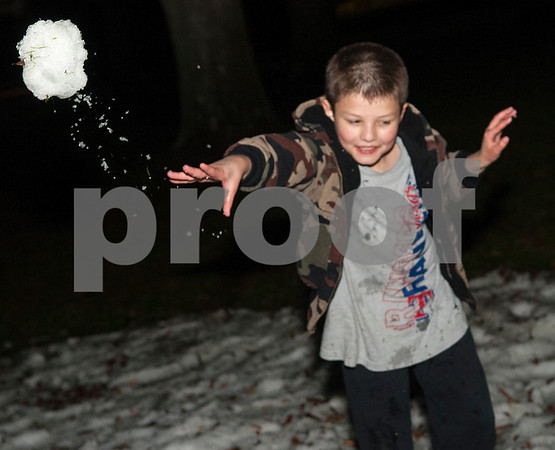 Robby Frith, 9, of Tyler, throws a snowball during the 4th annual Winter Wonderland at Tyler Junior College Wednesday Dec. 2, 2015. The event featured a snow area, snow slide, bounce house, holiday games and free hot chocolate.   (Sarah A. Miller/Tyler Morning Telegraph)