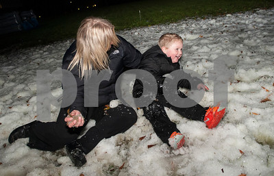 Sarah Tison of Lindale and her son Christian Tison, 4, play in the snow during the 4th annual Winter Wonderland at Tyler Junior College Wednesday Dec. 2, 2015. The event featured a snow area, snow slide, bounce house, holiday games and free hot chocolate.   (Sarah A. Miller/Tyler Morning Telegraph)