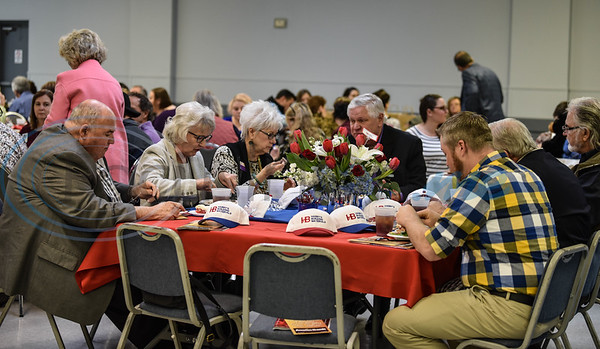 Jacksonville residents gather at the Norman Activity Center for the Jacksonville Chamber 94th Annual Banquet. The event took place on Friday, January 25 at the Norman Activity Center and was catered by Sadler's. (Jessica T. Payne/Tyler Morning Telegraph)