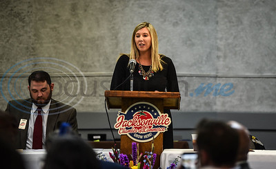 Mistress of Ceremonies Crystal Bateman of Austin Bank addresses the crowd at the Jacksonville Chamber 94th Annual Banquet. The Banquet took place on Friday, January 25 at the Norman Activity Center. (Jessica T. Payne/Tyler Morning Telegraph)