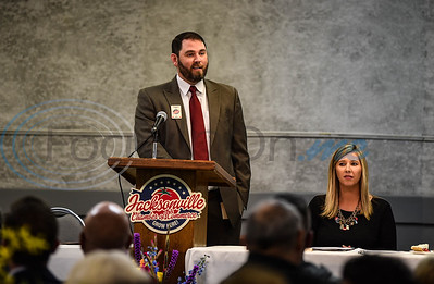 Tom Trimble, of Oncor, introduces himself as 2019 Chairman of the Board at the Jacksonville Chamber 94th Annual Banquet. The Banquet took place on Friday, January 25 at the Norman Activity Center. (Jessica T. Payne/Tyler Morning Telegraph)