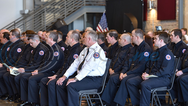 Firefighters wait to be sworn in at the Athens Fire and Rescue Swearing in Ceremony on Saturday, January 26. Personnel to be sworn in were Captains Chad Burks, Richard DeShazo and Chris Womble; Lieutenants Brian Davie and Greg Phillips; and Firefighters Jordon Bien, Gary Brown, Jeremy Glover, Jeremy Heddin, Brian Horton, Brian Manry, Justin Miller, Destry Sills, Lance West, Brock Bozeman, Michael Brown, Ricky Harris, Travis Henderson, Gene Lattis, Hunter Manry, Aaron Munn, Brian Tyler and Clint Wiggins. (Jessica T. Payne/Tyler Morning Telegraph)
