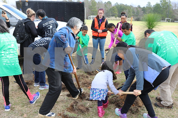 Students of all ages and volunteers plant trees during the Arbor Day Event at UT Tyler