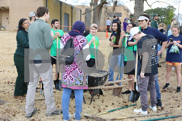UT Tyler students plant trees during the Tyler Arbor Day Event