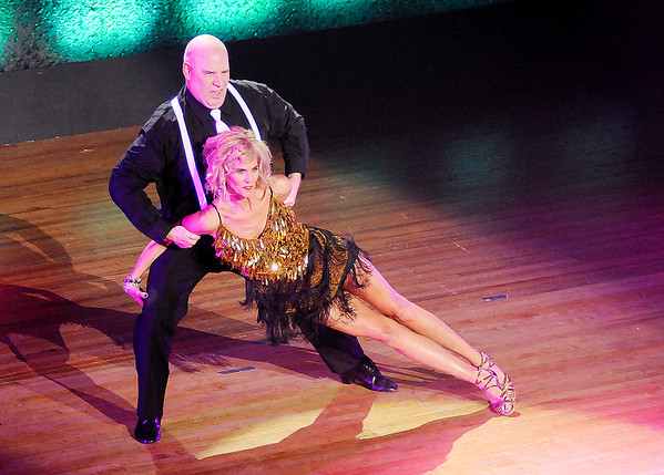 Don Knight | The Herald Bulletin<br /> Denise Miller and Ed Godby Schwab dance the Cha Cha during Dancing Like the Stars at the Paramount on Saturday.