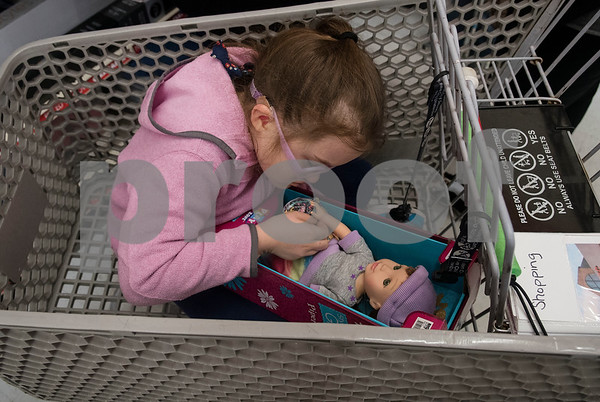 Kinsey Miller, 9, shops at Big Lots in the French Quarter Shopping Center in Tyler on Friday Dec. 8, 2017. Over 50 East Texas students with visually impairments were given money to purchase a gift to donate to Toys for Tots during their Annual Christmas Outing and Shopping Event.  (Sarah A. Miller/Tyler Morning Telegraph)