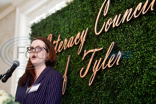 """Maggie Hill, a student at the University of Texas at Tyler, speaks about how the Literacy Council of Tyler benefitted her in her pursuit of education during the Literacy Council of Tyler donor luncheon at Willow Brook Country Club in Tyler, Texas, on Wednesday Jan. 29, 2019. This year's theme, """"Garden Party,"""" is designed to reflect the critical role donors play in the life of LCOT and its students. (Chelsea Purgahn/Tyler Morning Telegraph)"""
