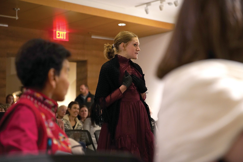 Matthew Gaston | The Sheridan Press<br>Sheridan High School student Myra Fuhrman portrays Augusta Howe, the first women to vote in Cheyenne, during a living history performance, hosted by The Sheridan Press at The Brinton Museum to celebrate the 150th anniversary of Wyoming women's suffrage Tuesday, Dec. 10, 2019.