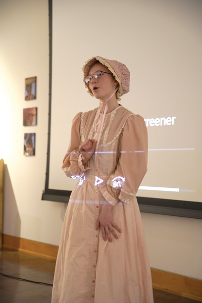 Matthew Gaston | The Sheridan Press<br>Lilliana Kerns plays Louisa Swain, the first women to vote in Wyoming, during a living history performance at The Brinton Museum for The Sheridan Press' 150th anniversary celebration of Wyoming women's suffrage Tuesday, Dec. 10, 2019.