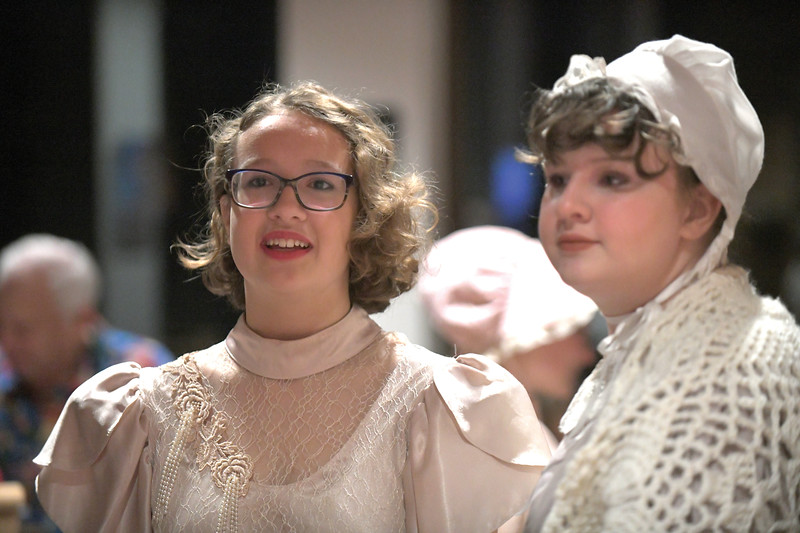 Matthew Gaston | The Sheridan Press<br>Libby Smith, left, and Grace Smith prepare to take part in a living history performance on the 150th anniverary of Wyoming women's suffrage Tuesday, Dec. 10, 2019.