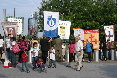 People representing a variety of Catholic Church affiliations gather in preparation for the morning procession.