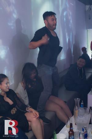 Inside of R3 Social Lounge, Dj Sophia and Dj Stephanie spinning EDM music.   June 11th, 2016.