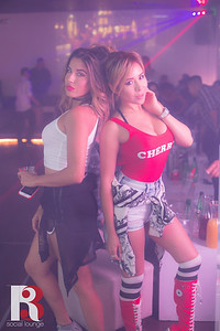 Inside of R3 Social Lounge, Dj Sophia and Dj Stephanie spinning EDM music.   June 11th, 2016.