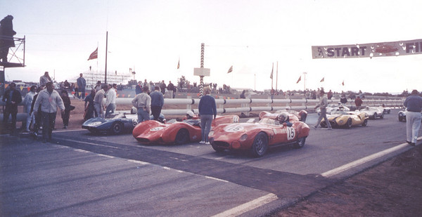 "Left to right as we look at the cars:<br /> ...Front row; <br /> car #65 Ingvar Lindgvist in ""Lin"" Saab Special<br /> car #66 Dan Parkinson in Dolphin-Abarth<br /> car #15 Jack Gordon in Osca 750 Sebring<br /> ...Second row:<br /> car #34 Martin Tanner in Martin T-5<br /> car #64 Chic (Cast or Gast) in Bobsy-Osca<br /> <br /> <br /> RACE FOUR RESULTS: H Modified from <a href=""http://www.virhistory.com/cars/arrc/1964-res.htm"">http://www.virhistory.com/cars/arrc/1964-res.htm</a><br /> 62.4 mi. ( 24 laps)-winner's avg. spd.-82.39 mph<br /> <br /> 1	-	        Dolphin-Abarth	/ Dan Parkinson	/ Pacific( 3 )<br /> 2 	26 	        Osca Spl	        / John Gordon	/ Northeast(2) <br /> 3 	99 	        Bobsy-Osca	/ John Igleheart	/ Northeast(1) <br /> 4 	1L55	Bobsy-Osca	/ Chic Cast	        / Pacific(1)<br /> 5	1L104	D.B. LeMans	/ Frank rook Manly	/ Midwest( 3 )<br /> 6	1L113	BMW Spl	Jos. McClughan	Southwest(1 )<br /> 7 	3L10	Lambert HT 	Robert Samm	Southwest( 3 ); <br /> 8 	6L88	Centaur 	/ Paul Coffield 	/ Central( 3 ).<br /> DNF 	-	Begra-Abarth	/ George Avent	/ Southeast (1 )<br /> -	-	Martin T-5	/ Martin Tanner	/ Central (1 ) <br /> -	-	Bandini 	/ Hugh Grammer	/ Southwest(2)<br /> -	-	Saab Spl	/ Ingvar Lindgvist	/ Pacific( 2 )<br /> <br /> This photo and description below are from the HMod Yahoo group photos:<br /> This is my 1960 Sebring index winning 750 Osca on the pole @ the first interdivisional runoffs. <br /> Next to me is Dan Parkinson (winner) in the Dolphin Abarth. <br /> In #3 is Martin Tanner in the MartinT (saab, dnf). <br /> My car (built for 24-hr races) is a bit on the heavy side for 45-minute sprints, also being front-engine does not handle as well as some of the other cars. <br /> At this event the qualifying was held under sloppy cold wet conditions & i was using my capacitive-discharge ignition, everybody else was misfiring & so i was able to capture pole position altho not being the fastest car in the race. <br /> The car has had numerous owners since i sold it in 1966, presently is owned by a collector in japan.<br /> Jack Gordon"