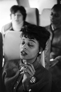 City College of New York student napping and smoking on bus  Selma To Montgomery Civil Rights March, March 24-26, 1965