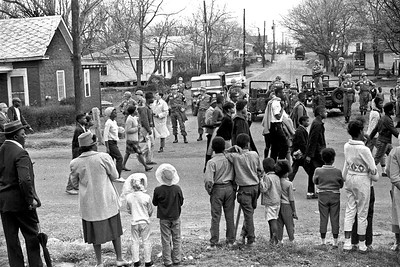 Civil Rights Marchers, with Federalized National Guards  and Army troops guarding them -  Selma to Montgomery, Alabama civil rights march. March 25, 1965